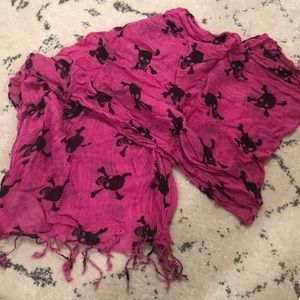 Accessories - Pink & Black skull scarf w/ braided fringe